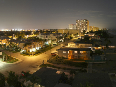 Pompano Beachs Nighttime Skyline Viewed From Briny Avenue