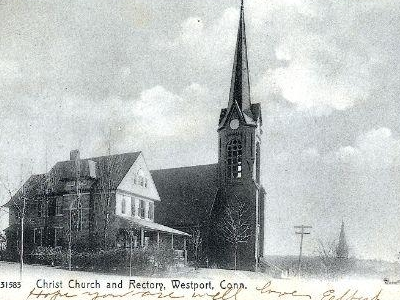 Postcard Christ Church And Rectory Westport C T 1 9 0 7
