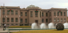 Rear Facade Of The Museum With Fountains