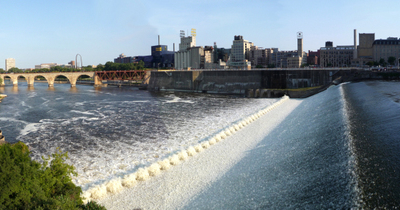 Panoramic Photo Visible From This Vantage The Lower Portion Of Saint Anthony Falls The Concrete Wall On The Far Side Of The Falls Is Part Of The Locks To Allow Ships To Pass The Waterfall To The Left Is The Stone Arch Bridge Above It Is The Guthrie Theate