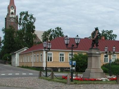 Raahe Church And Statue Of Per Brahe