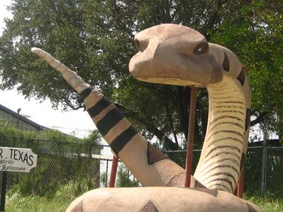Rattlesnake Monument At Chamber Of Commerce Office In Freer