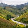 River Cutting Across Mu Cang Chai Rice Terraces In Yen Bai - Vietnam
