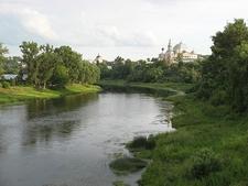 River Volga Flowing Through Valdai Hills In Russia