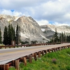 Road By Medicine Bow Mountains In Wyoming
