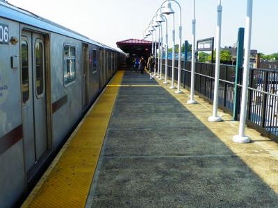 An R142 Train Sits At The Station