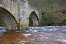 River Swale Flowing Under Downholme Bridge