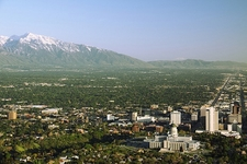 Salt Lake City UT Overview With Mt. Olympus Backdrop