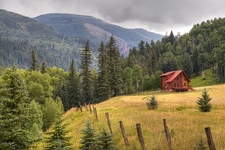 San Juan Mountains CO Alpine Red Cabin