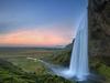 Seljalandsfoss Waterfalls With Landscape Below
