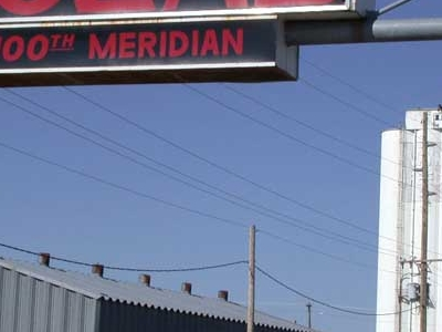 Sign Marking The Meridian On U S Highway Cozad