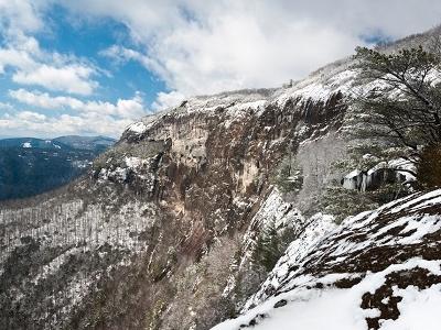 Snow On  Whiteside Mountain - North Carolina