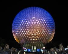 Spaceship Earth Illuminated At Night