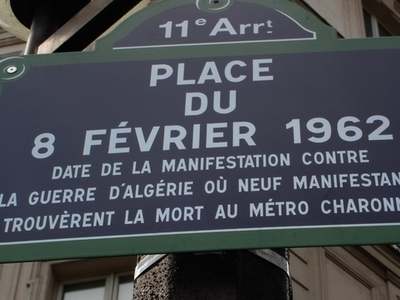 Street Sign Of Place Du 8 Février 1962