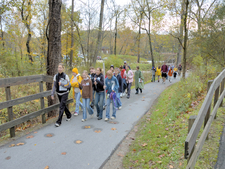 Students Walk Along The Towpath