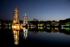 Sun & Moon Pagodas In Guilin At Night