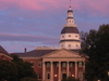 Sunset Reflected On The State House In Annapolis.