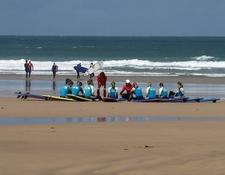 Surfing Instruction On Fistral Beach