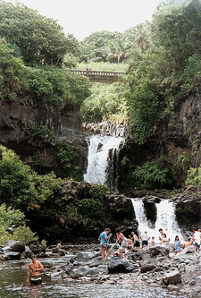 Swimmers In The Pools At Kipahulu