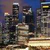 Singapore Skyline At Night With Blue Sky