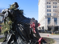 Statue Of Shakespeare Decorated For Winter.