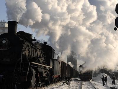 Steam Locomotive In Jixi