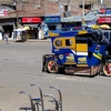 Taxi Outside Puno Food Market - Puno Peru