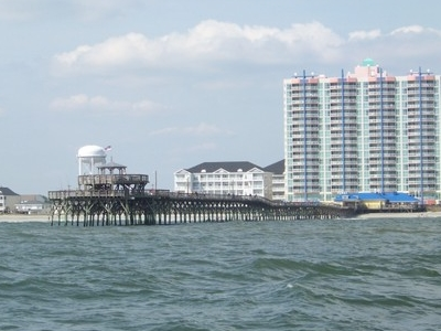 The Cherry Grove Pier As Seen From The Atlantic Ocean.