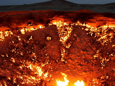 Darvaza Flaming Crater In 2010