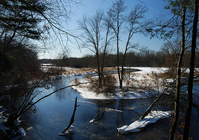 Three Mile River In Winter