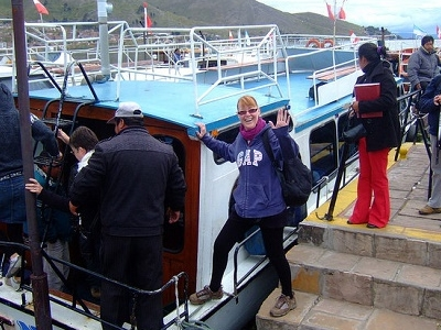 Tourists Boarding Cruise Boat In Puno City Peru