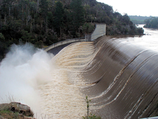 Trevallyn Dam In Flood