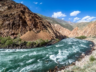 Turquoise Kekemeren River In Tien Shan Mountains