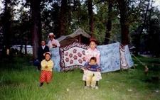 Tibetan Family At Sho Dun Festival