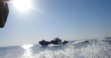 US Navy Boat Patrolling Lake Qadisiyah