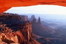 View Down Mesa Arch At Canyonlands UT