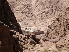 View Down St. Catherine Monastery From Mt. Sinai