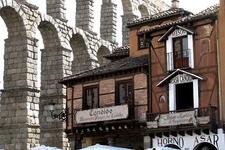 View Segovia Town Buildings & Aqueduct