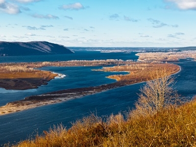 Volga River Bend Near Samara