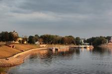Volga River Embankment & Pier At Uglich Russia