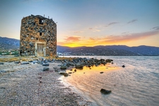 Windmill Ruin At Mirabello Bay - Crete Island Greece