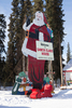 Wooden-Cut Santa At North Pole