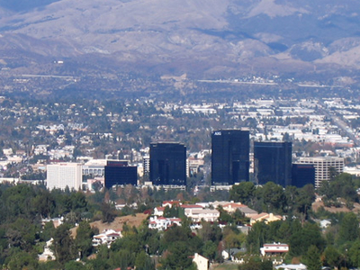 Woodland Hills California In The Foreground Including Warner Cen