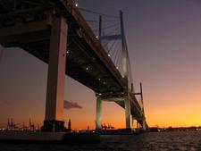 Yokohama Bay Bridge At Dawn