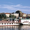 Luch on the boat on Vltava river with trasportation