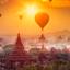 Ballooning During Sunrise In Bagan