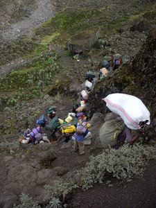 Porter Almaost Reach At Lunch Point From Machame Camp